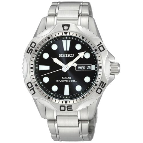 Seiko Men's SNE107 Solar Diver Black Dial Stainless Steel Watch
