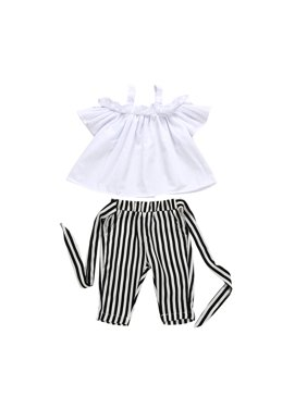 9cb735e4e6ce0 Product Image Kids Baby Girl Summer Outfits Clothes Tops T-Shirt Stripe  Pants 2PCS Outfits Set