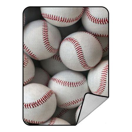 GCKG baseball balls sports Fleece Blanket Crystal Velvet Front and Lambswool Sherpa Fleece Back Throw Blanket -
