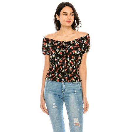 Salt Tree Women's Floral Off Shoulder Puffed Sleeves Smocked Waistband Top