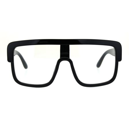 Old School Hip Hop Nerdy Thick Plastic Flat Top Racer Eyeglasses Black