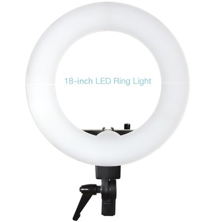 Loadstone Studio 18-inch Diameter Continuous Round Ring Light, Dimmable Lighting Kit with Hard Shell Cover White Diffuser for Professional Photo and Video Shoots, WMLS4578