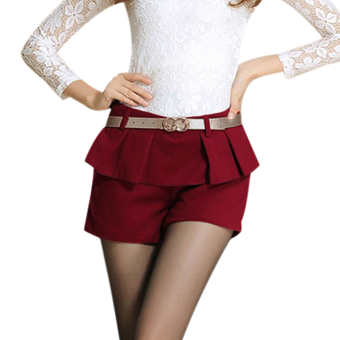 Women's Natural Waist Belt Loops Leisure Worsted Shorts