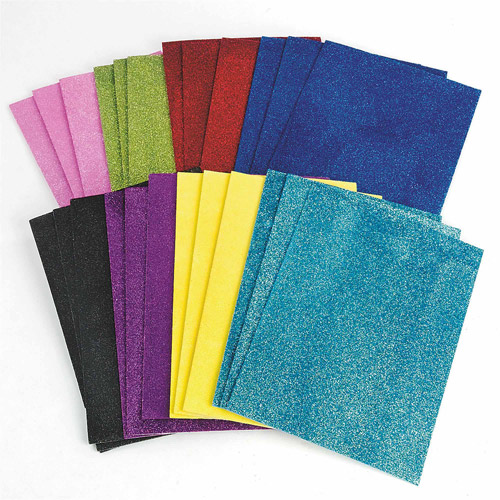 Sticky Back Glitter Foam Sheets, 24pk