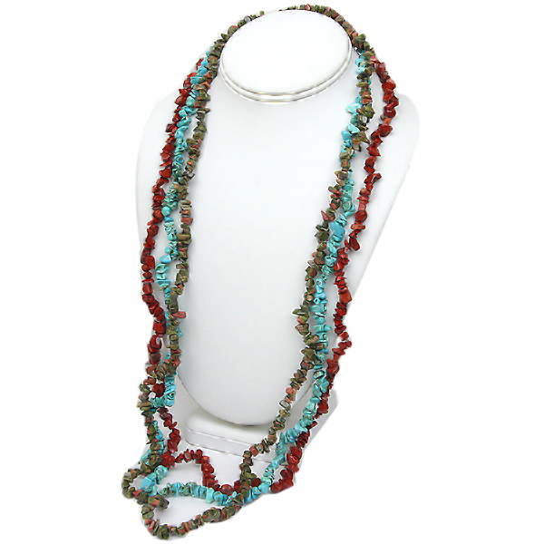 "Set of 3 Red Jasper 34"" Unakite 34"" & Turquoise 34"" Chip Necklace"
