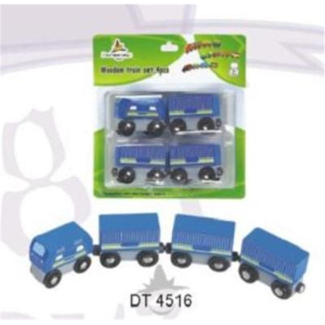 CHH 964516 4 Pieces Blue Wooden Train in Blister Pkg