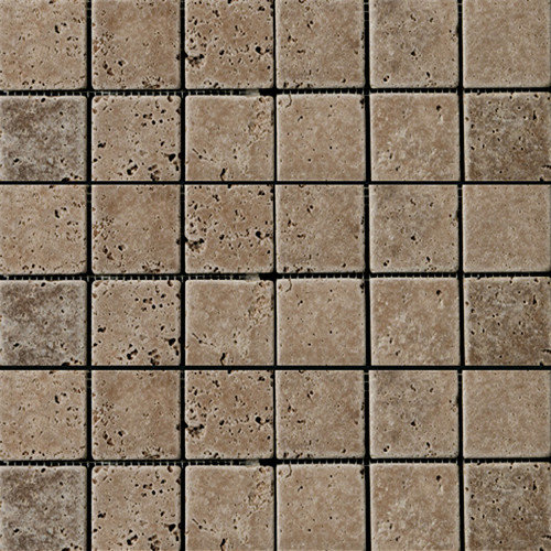 Emser Tile Natural Stone 2'' x 2'' Travertine Mosaic Tile in Walnut