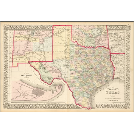 LAMINATED POSTER County Map of The State of Texas Showing also portions of the Adjoining States and Territories POSTER PRINT 24 x 36 ()