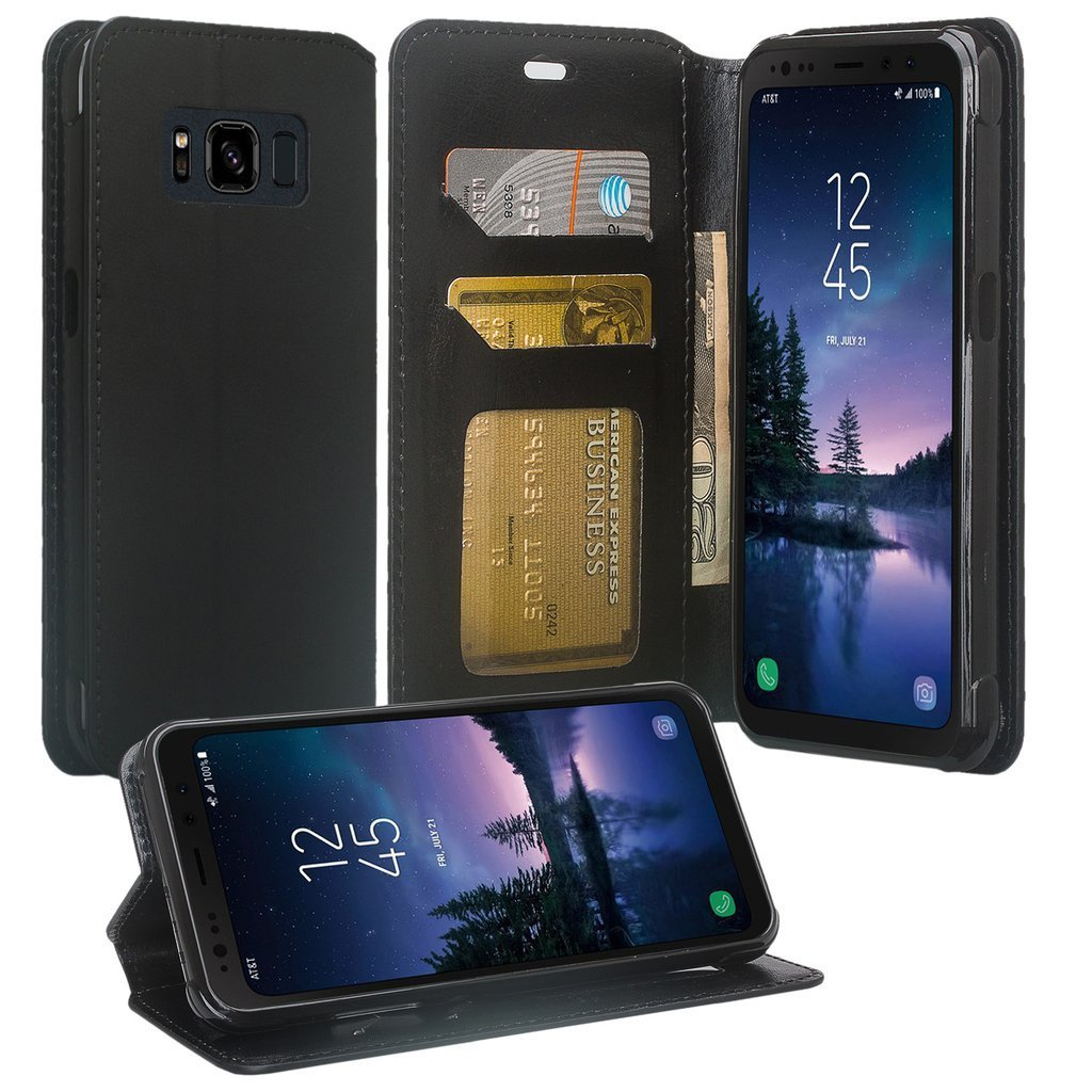 Galaxy S8 Active Case, Samsung Galaxy S8 Active Wallet Case, PU Magnetic Leather Wallet Flip Protective Case Cover with Card Slots and Stand for Galaxy S8 Active - Black