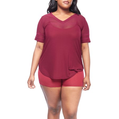 Womens Plus Size Short Stripe Sleeve V-Neck Mesh Loose Top XT52385-XL-Burgundy