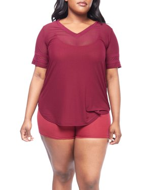 f55f377014fc93 Product Image Womens Plus Size Short Stripe Sleeve V-Neck Mesh Loose Top  XT52385-XL-. Genx