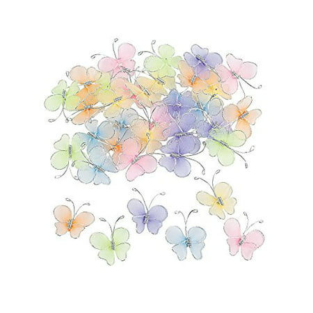 Fun Express Nylon Butterfly Decorations - 36 Piece Pack