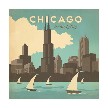 Chicago, Illinois Windy City: Lake Michigan Travel Advertisement Print Wall Art By Anderson Design Group - Windy City Coupon