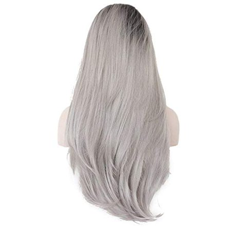 Ebingoo Grey Ombre Dark Roots Long Natural Wave Synthetic Lace Front Wig 26 inch - image 2 of 5