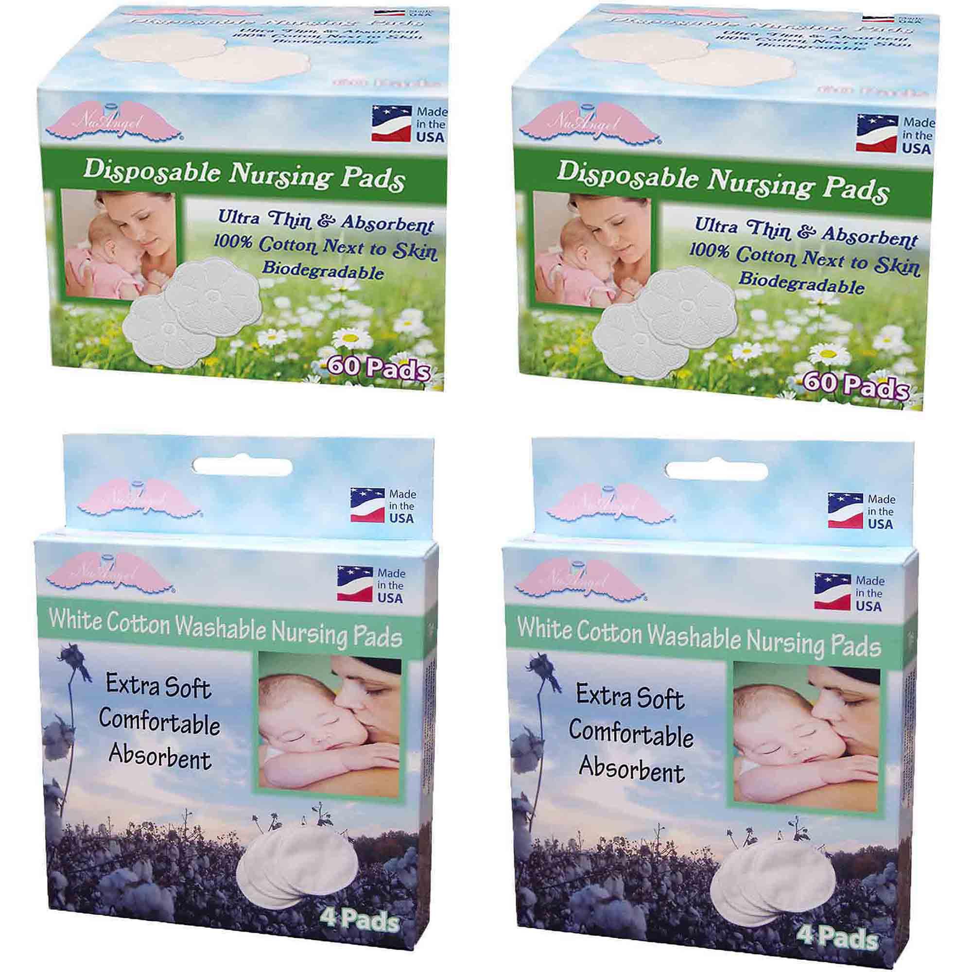 NuAngel All-Natural Washable Cotton & Biodegradable Disposable Cotton Nursing Pad Set, White by NuAngel