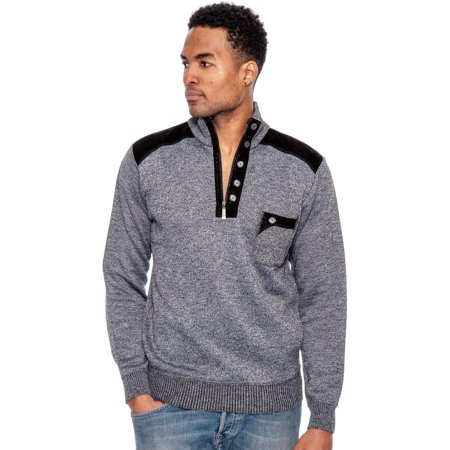 True Rock Men's 1/2 Zip Pullover Sweater-Charcoal-Small (Charcoal, -