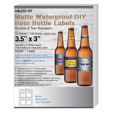 Milcoast Matte Waterproof Tear Resistant Blank White Adhesive DIY Beer Bottle Labels - For Laser/Inkjet Printers - 100 Label Sets (25 Sheets)](Beer Labels)