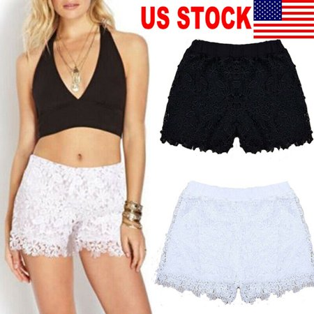 Women Elastic Waist Hollow Shorts For Women S M L New Hot sale Solid Black White Summer Shorts Casual Lace (White Lululemon Shorts)