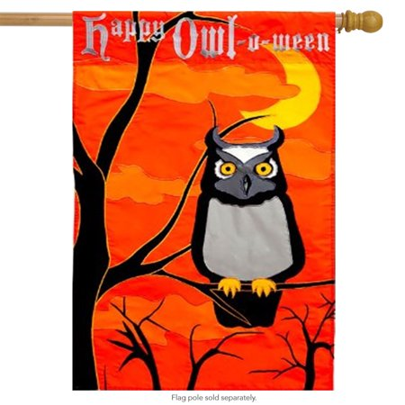 Happy Owl-O-Ween House Flag Halloween Owls Scary Orange October 31st 29