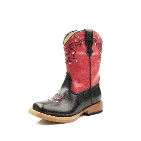 a23bfaae109 Roper Western Boots Girls Shiny Stud Black Red 09-017-1901-0030 BL