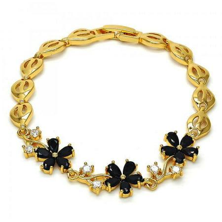 Vines Of Flower Black and White Cubic Zirconia Gold Plated Women Tennis Bracelet By Folks Jewelry Gold Vine Pattern Bracelet