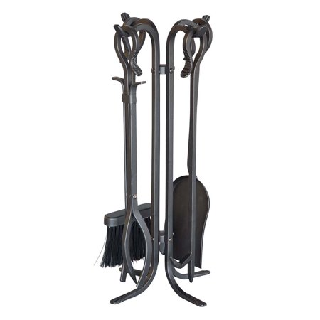 Compact Size Hand Forged Fireplace Tool Set In Black
