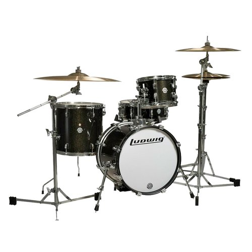 Ludwig Breakbeats 4-Piece Shell Pack w/ Riser - Black Sparkle