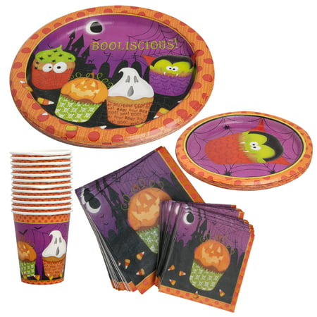 Halloween Paper Plates (Party House (94 Piece) Halloween Party Supplies Set Paper Cups, Plates, & Napkins Bulk Halloween)