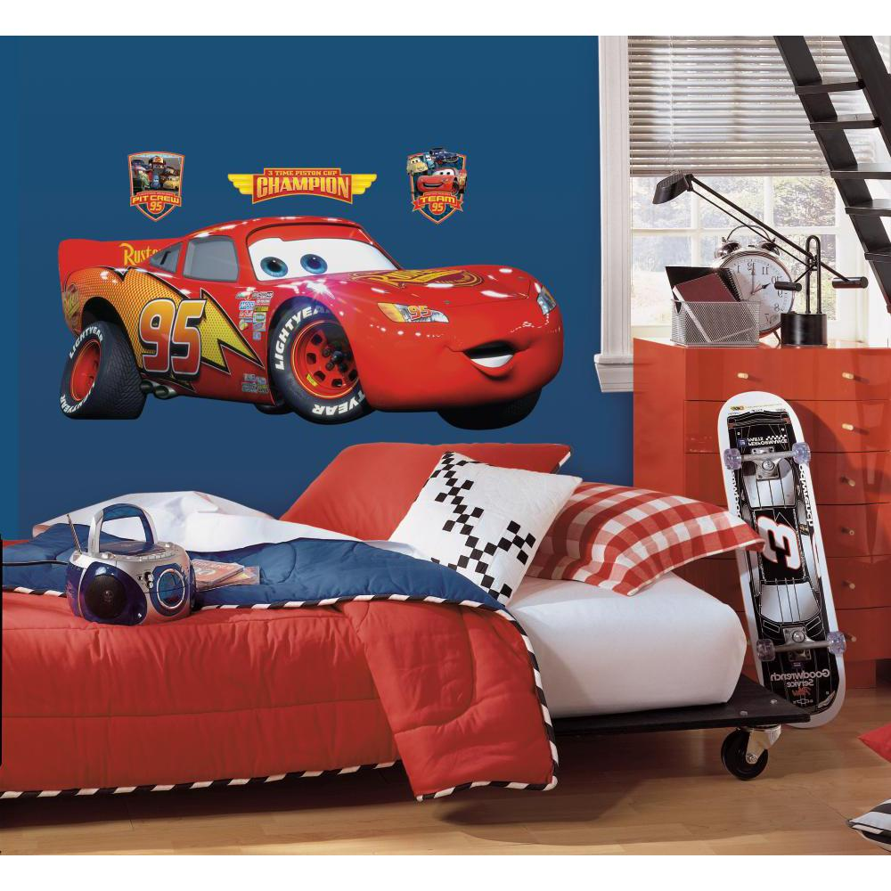 GIANT LIGHTNING MCQUEEN WALL DECAL Disney Cars Movie Stickers Racing Decor