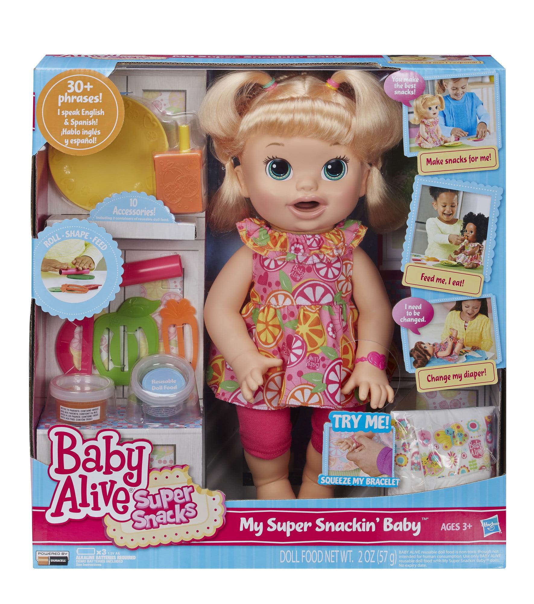 Baby Alive Super Snacks Snackin/' Sara Eat Talk Poop AA African American BONUS