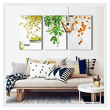 wall26 3 Piece Canvas Wall Art - Leaves and Fruits - Chinese Style Watercolor Painting - 24