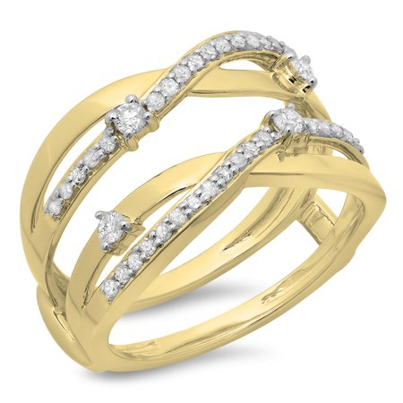 18k Yellow Gold Enhancer (0.40 Carat (ctw) 18K Yellow Gold Round Diamond Ladies Anniversary Wedding Band Swirl Enhancer Guard Double)