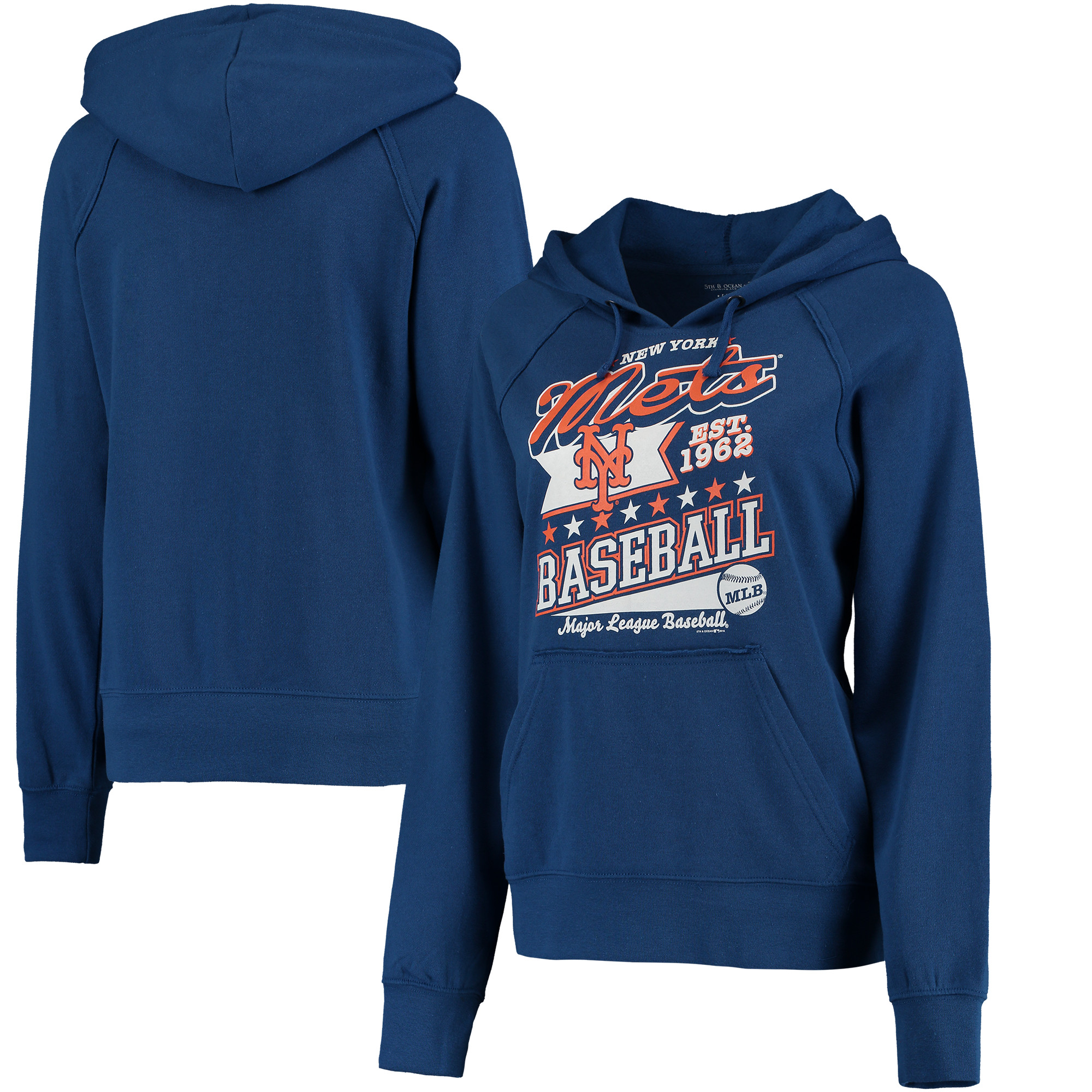 New York Mets 5th & Ocean by New Era Women's Raw Edges & Pouch Raglan Pullover Hoodie - Royal