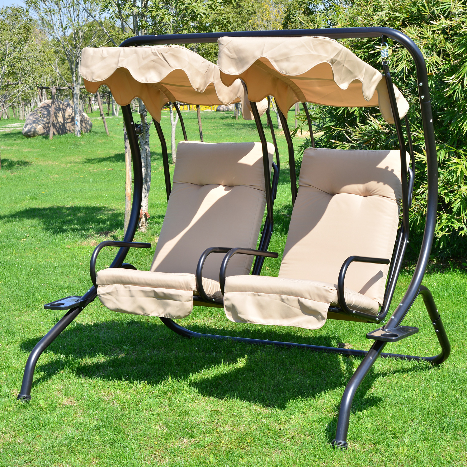 Outsunny Outdoor Garden Patio Covered Double Swing w/ Frame - Sand