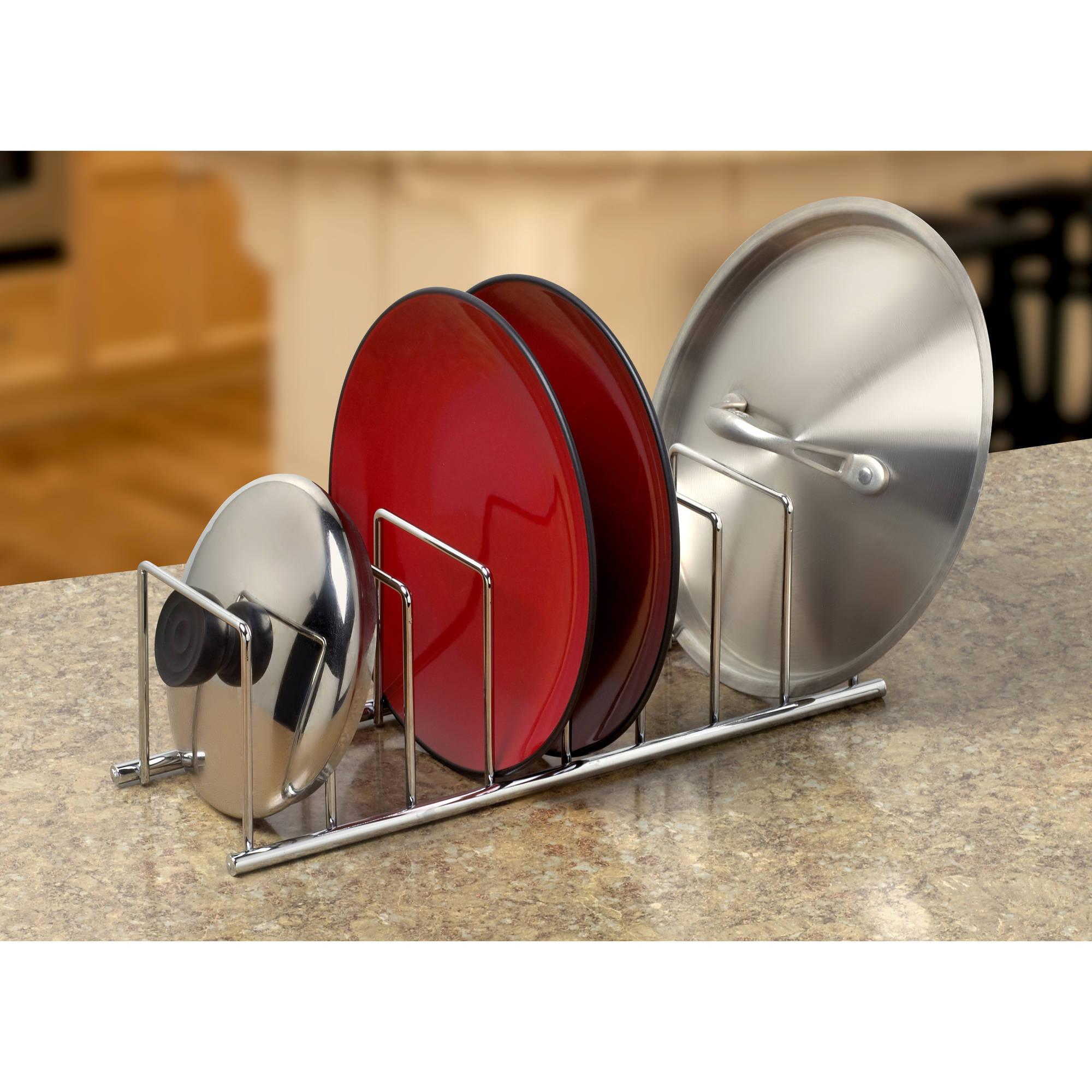 Spectrum Euro Kitchen and Lid Organizer, Chrome