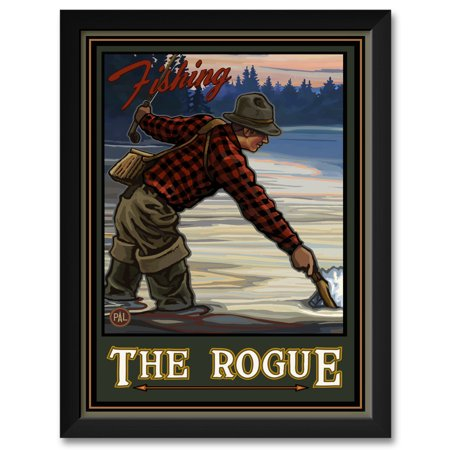 Fishing The Rogue River Oregon Evening Fly Fisherman Framed Art Print by Paul A. Lanquist. Print Size: 18