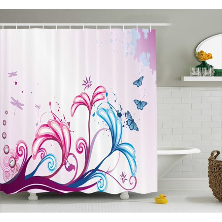 Nature Shower Curtain, Curved Giant Flower Bodies and Butterflies Flying Spring Style Artsy Design, Fabric Bathroom Set with Hooks, 69W X 70L Inches, Lilac Pink Sky Blue, by - Giant Body