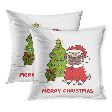 USART Cute Dog Breed Pug in Santa Claus Costume Christmas Tree Garland Merry Pillow Case Pillow Cover 18x18 inch Set of - Pug Santa Costume