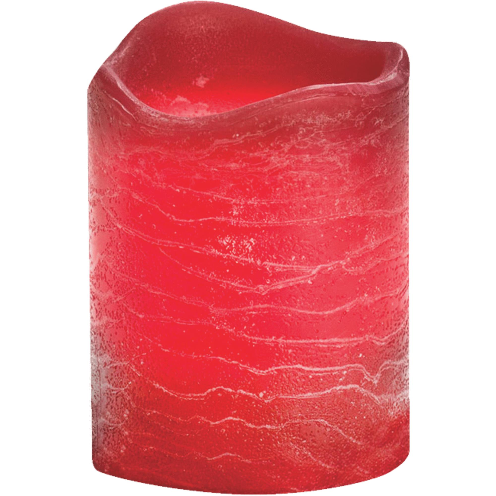Inglow Flameless Rustic Pillar Candles, Pomegranate, Set of 6