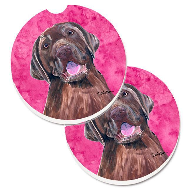Pink Labrador Set of 2 Cup Holder Car Coaster - image 1 de 1