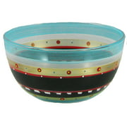 """Set of 2 Mosaic Chalkboard and Stripes Hand Painted Glass Serving Bowls 6"""""""