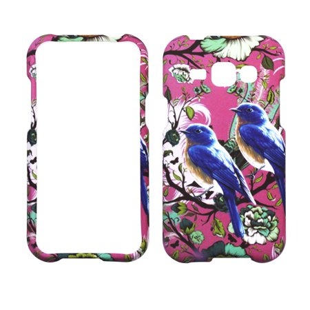 Purple Bird Flower Case for Samsung Galaxy Express 3 Designer Cover Protector Snap on Shield Hard Shell Phone case Purple Shield Protector Case