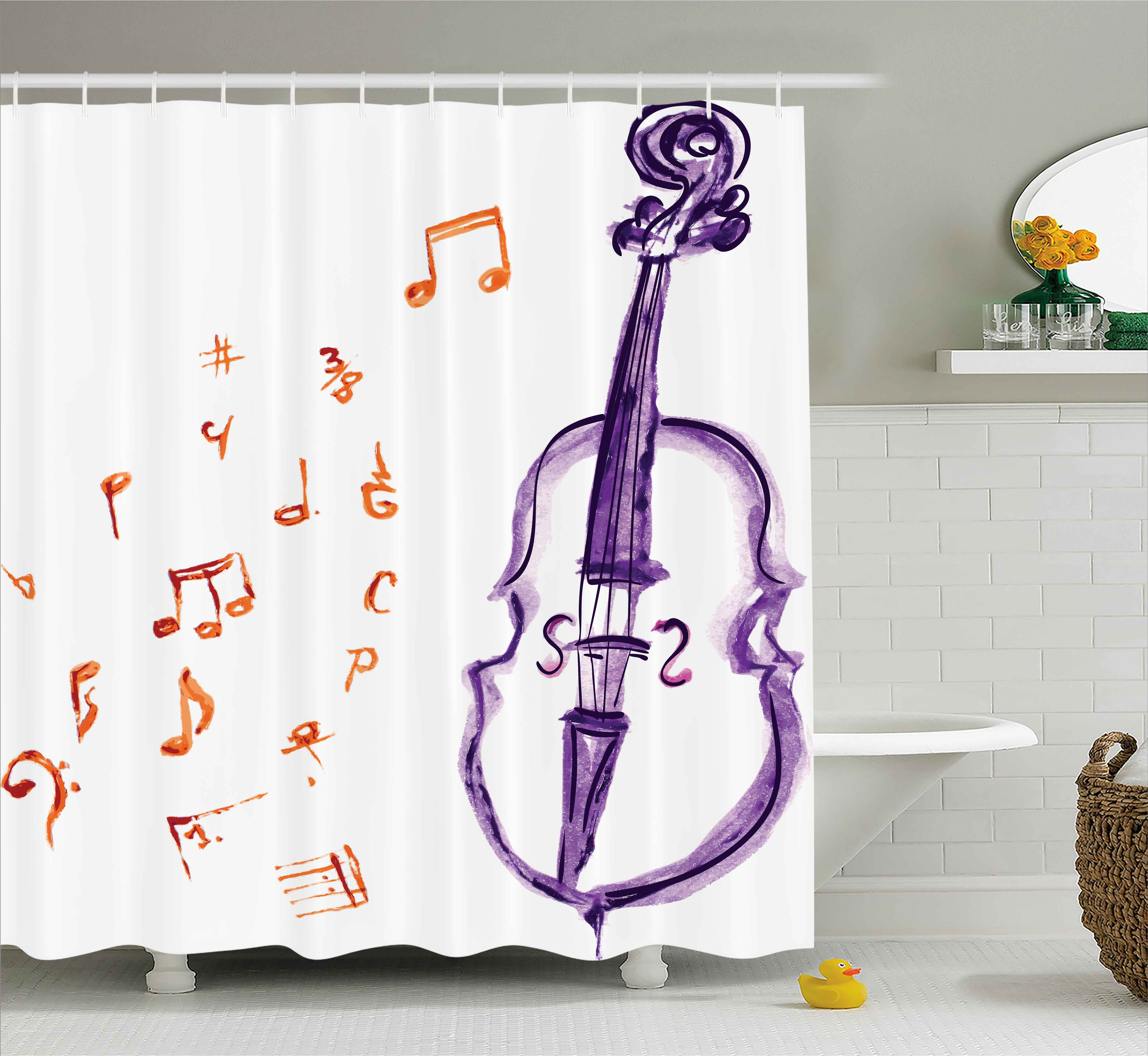 Music Decor Shower Curtain, Musical Notes Instrument Viol...