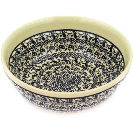 Polish Pottery 6½-inch Bowl (Black Lace Theme) Hand Painted in Boleslawiec, Poland + Certificate of - Hand Painted Rose Bowl