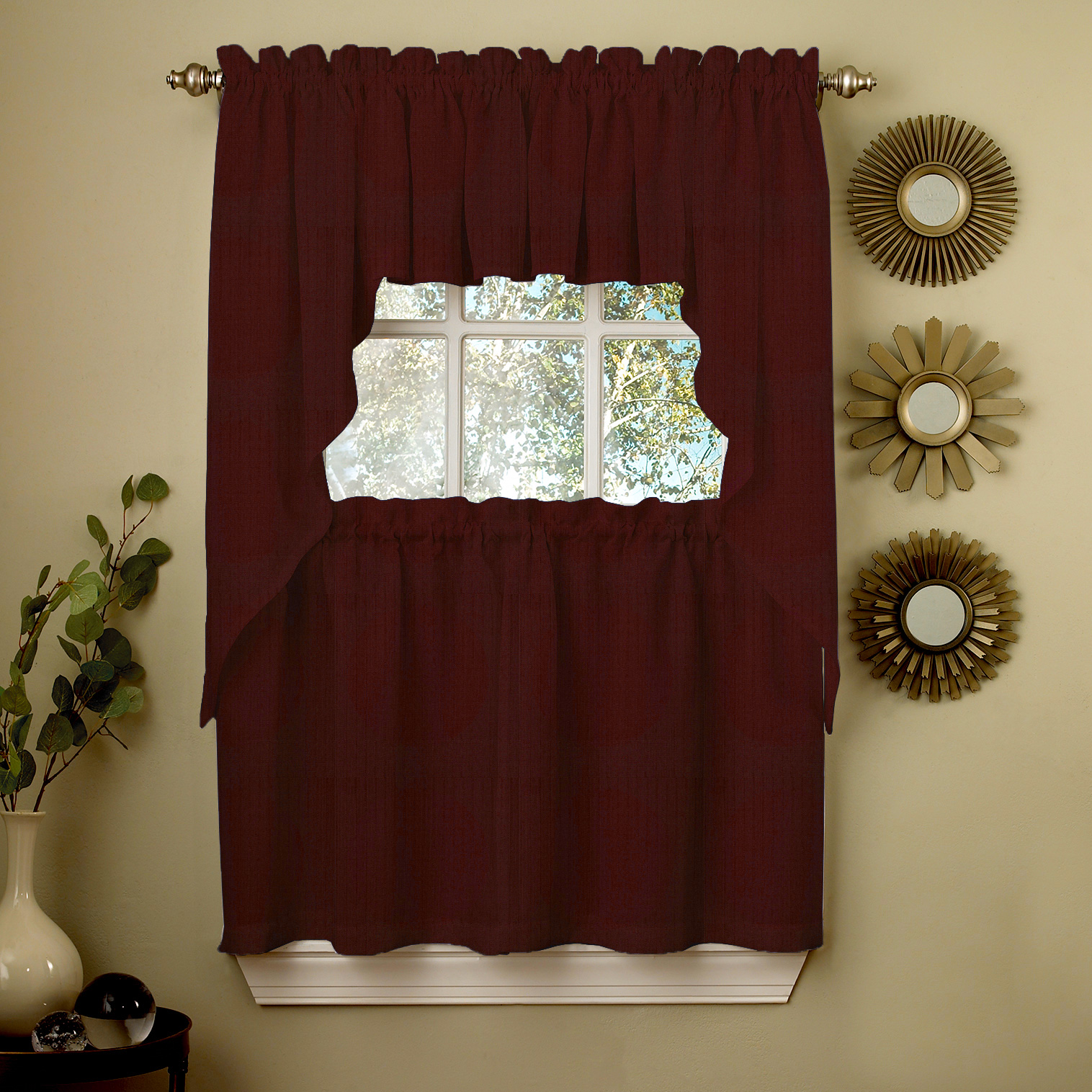 Wine Opaque Solid Ribcord Kitchen Curtains Choice of Tier ...
