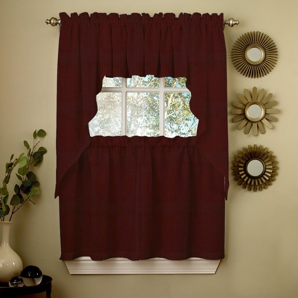 Wine Opaque Solid Ribcord Kitchen Curtains Choice Of Tier Valance Or Swag Walmart Com Walmart Com