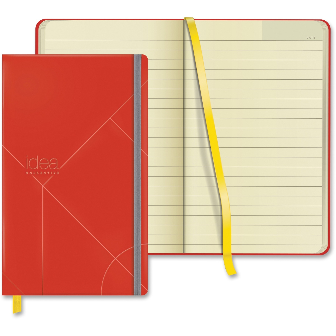 """Tops Idea Collective Medium Hardbound Journal, Wide Rule, Red - 120 Sheet - 80 G/m - Wide Ruled - 5"""" X 8.25"""" - 1 / Each - Cream Paper Red Cover (top-56873)"""