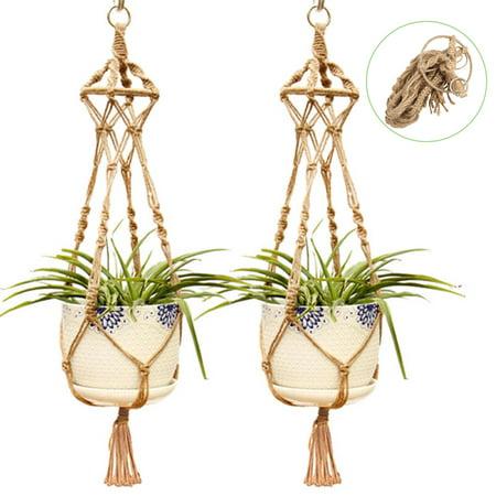 TSV Vintage Macrame Plant Hangers Indoor Outdoor Hanging Planter Basket Cotton Rope