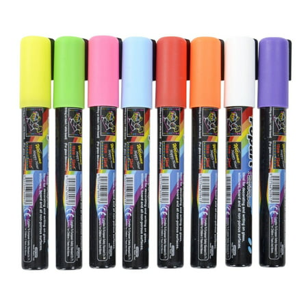 FlashingBoards Liquid Chalk (Fluorescent Neon) Marker Pen 8 Color Pack Dry - Fluorescent Markerboard
