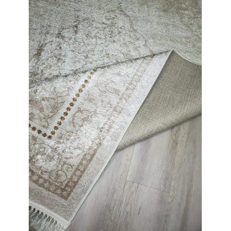 La Dole Rugs Cream Beige Bordered Vintage Traditional Flat